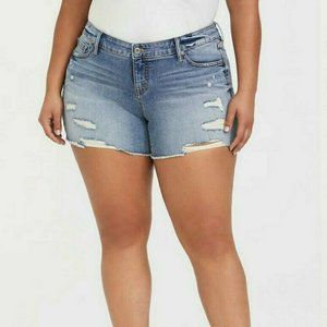 Torrid Rainbow Embroidered Denim Distressed Shorts